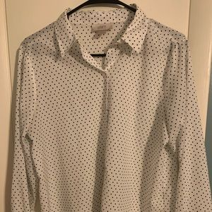 Loft long sleeve button up- Polkadot